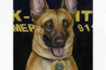 Marco -Mixed media portrait for Fulton County Police Dog